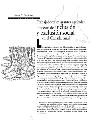 Trabajadores migrantes agrícolas: procesos de inclusión y exclusión social en el Canadá rural