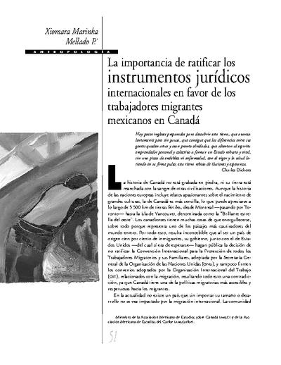 La importancia de ratificar los instrumentos jurídicos internacionales a favor de los trabajadores migrantes mexicanos en Canadá