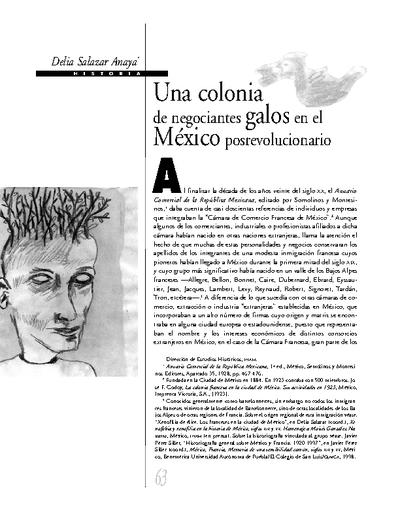 Una colonia de negociantes galos en el México posrevolucionario