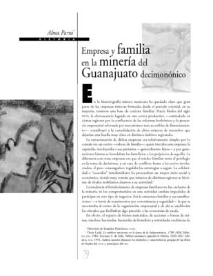 Empresa y familia en la minería del Guanajuato decimonónico