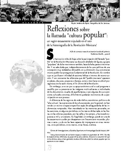 """Reflexiones sobre la llamada """"cultura popular"""""""