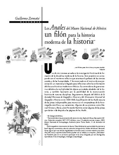 Los Anales del Museo Nacional de México: un filón para la historia moderna de la historia