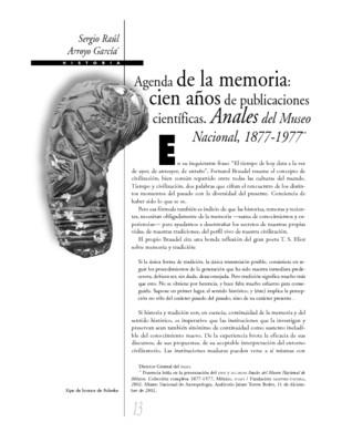 Agenda de la memoria: cien años de publicaciones científicas. Anales del Museo Nacional, 1877-1977