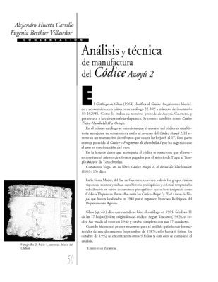 Análisis y técnica de manufactura del Códice Azoyú 2