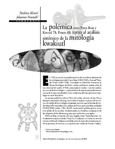 La polémica entre Franz Boas y Konrad Th. Preuss en torno al análisis sistémico de la mitología kwakiutl