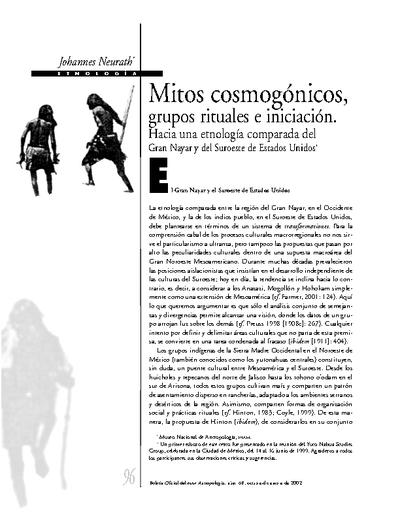 Mitos cosmogónicos, grupos rituales e iniciación. Hacia una etnología comparada del gran Nayar y del suroeste de Estados Unidos