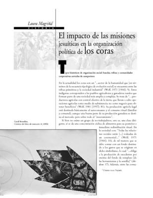El impacto de las misiones jesuíticas en la organización política de los coras