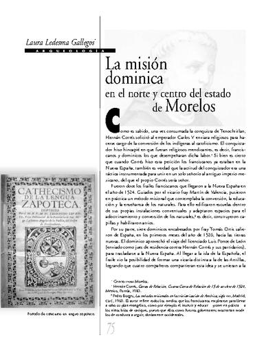 La misión dominica en el norte y centro del estado de Morelos