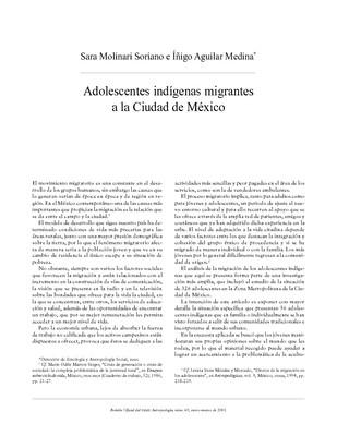 Adolecentes indígenas migrantes a la Ciudad de México