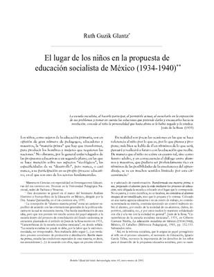 El lugar de los niños en la propuesta de educación socialista en México (1934-1940)