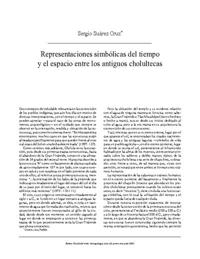 Representaciones simbólicas del tiempo y el espacio entre los antiguos cholultecas