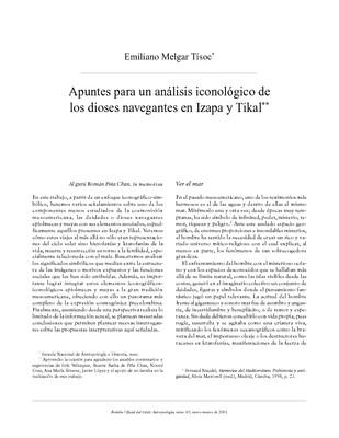 Apuntes para un análisis iconológico de los dioses navegantes en izapa y Tikal