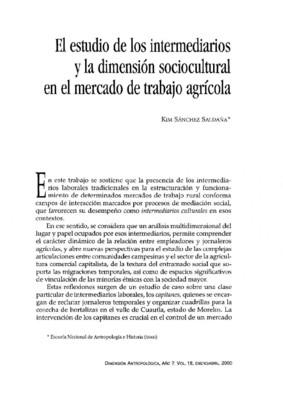 El estudio de los intermediarios y la dimensión sociocultural en el mercado de trabajo agrícola