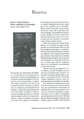 Marie-Odile Marion, Entre anhelos y recuerdos, México: Plaza-Valdés, 1997.