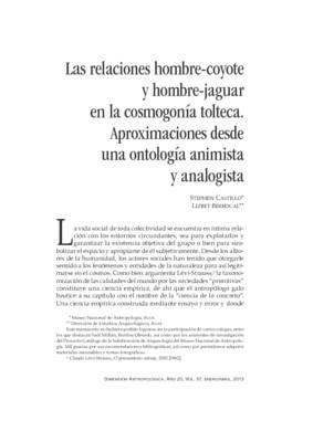 Las relaciones hombre-coyote y hombre-jaguar en la cosmogonía tolteca. Aproximaciones desde una ontología animista y analogista
