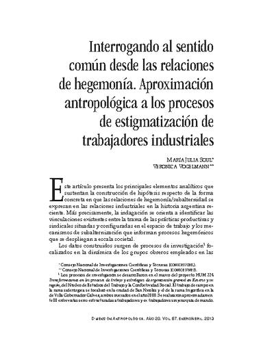 Interrogando al sentido común desde las relaciones de hegemonía. Aproximación antropológica a los procesos de estigmatización de trabajadores industriales
