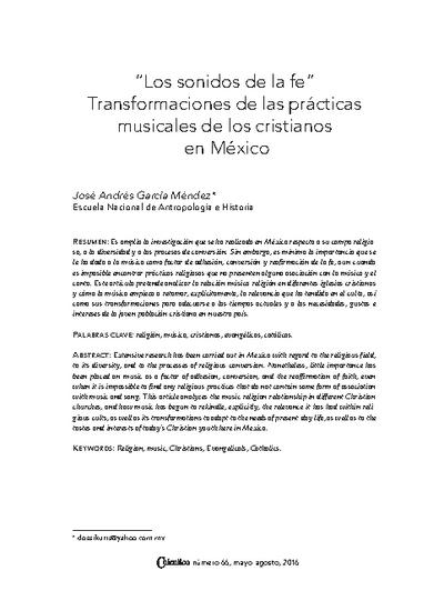 """""""Los sonidos de la fe"""".  Transformaciones de las prácticas musicales de los cristianos en México"""