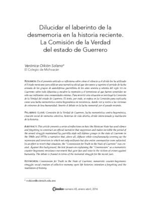 """""""Dilucidar el laberinto de la desmemoria en la historia reciente. La Comisión de la Verdad del Estado de Guerrero"""""""