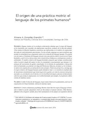 El origen de una práctica motriz: el lenguaje de los primates humanos
