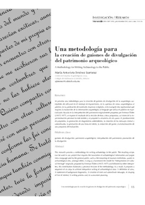 Una metodología para la creación de guiones de divulgación del patrimonio arqueológico