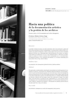 Hacia una política de la documentación artística y la gestión de los archivos
