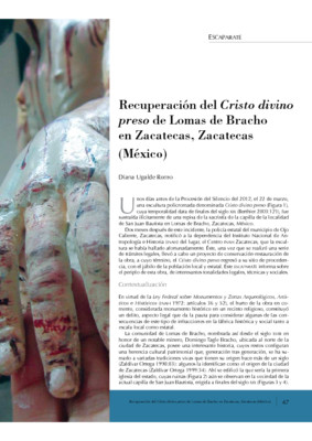 Recuperación del Cristo divino preso de Lomas de Bracho en Zacatecas, Zacatecas (México)
