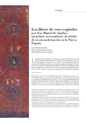Los libros de coro copiados por fray Miguel de Aguilar: un primer acercamiento al estudio de su encuadernación en la Nueva España