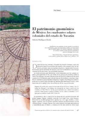 El Patrimonio Gnomónico de México. Los cuadrantes solares coloniales del Estado de Yucatán.