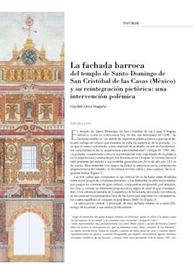 La fachada barroca del templo de Santo Domingo de San Cristóbal de las Casas (México) y su reintegración pictórica: una intervención polémica