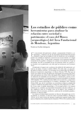 Los estudios de público como herramientas para analizar la  relación entre sociedad y  patrimonio: el caso del Museo  [arqueológico] del Área Fundacional de Mendoza, Argentina