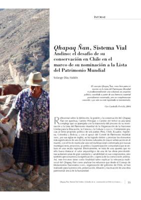 Qhapaq Ñan, Sistema Vial Andino: el desafío de su conservación en Chile en el marco de su nominación a la Lista del Patrimonio Mundial