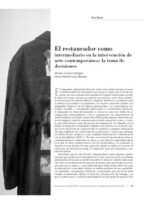 El restaurador como intermediario en la intervención de arte contemporáneo: la toma de decisiones