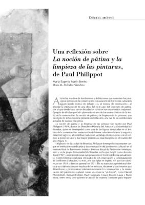"""Una reflexión sobre """"La noción de pátina y la limpieza de las pinturas"""", de Paul Philippot"""