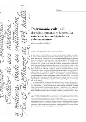 Patrimonio cultural, derechos humanos y desarrollo