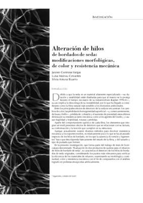 Alteración de hilos de bordados de seda: modificaciones morfológicas de color y resistencia mecánica