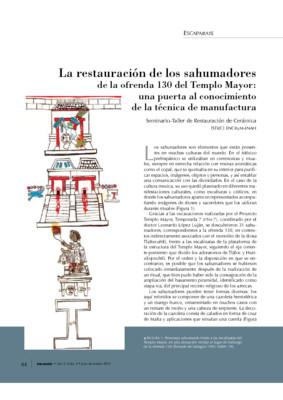 La restauración de los sahumadores de la ofrenda 130 de Templo Mayor: Una puerta al conocimiento de la técnica de manufactura