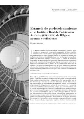 Estancia de perfeccionamiento en el Instituto Real de Patrimonio Artístico (KIK-IRPA) de Bélgica: apuntes y reflexiones