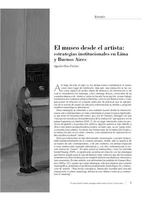 El museo desde el artista: estrategias institucionales en Lima y Buenos Aires