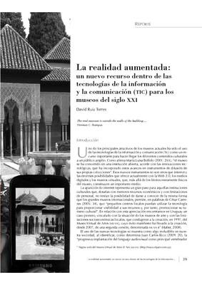 La realidad aumentada: un nuevo recurso dentro de las tecnologías de la información y la comunicación (TIC) para los museos del siglo XXI