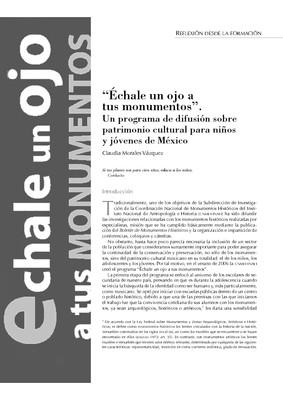"""""""Échale un ojo a tus monumentos"""". Un programa de difusión sobre patrimonio cultural para niños y jóvenes de México"""