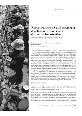 Restauradores Sin Fronteras: el patrimonio como motor de desarrollo sostenible