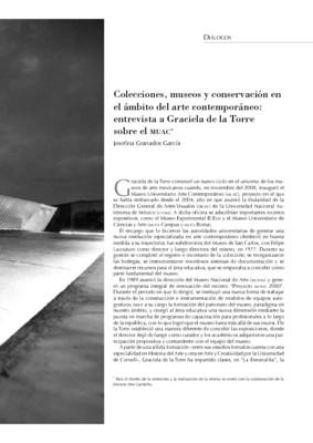Colecciones, museos y conservación en el ámbito del arte contemporáneo: entrevista a Graciela de la Torre sobre el MUAC