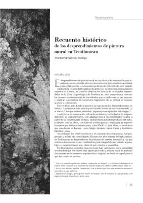 Recuento histórico de los desprendimientos de pintura mural en Teotihuacan