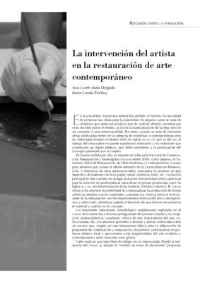 La intervención del artista en la restauración de arte contemporáneo