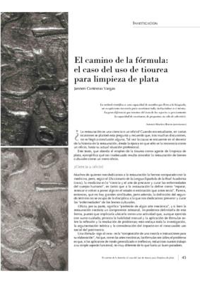 El camino de la fórmula: el caso del uso de tiourea para limpieza de plata