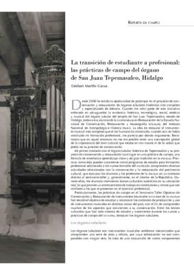 La transición de estudiante a profesional: las prácticas de campo del órgano de San Juan Tepemasalco, Hidalgo