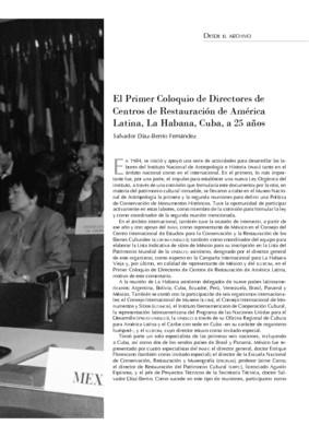 El Primer Coloquio de Directores de Centros de Restauración de América Latina, La Habana, Cuba, a 25 años