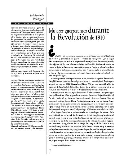 Mujeres guerrerenses durante la Revolución de 1910