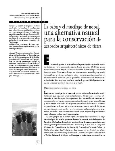La baba y el mucílago de nopal, una alternativa natural para la conservación de acabados arquitectónicos de tierra