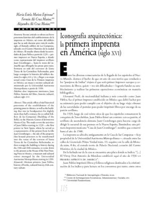 Iconografía arquitectónica: la primera imprenta en América (siglo XVI)